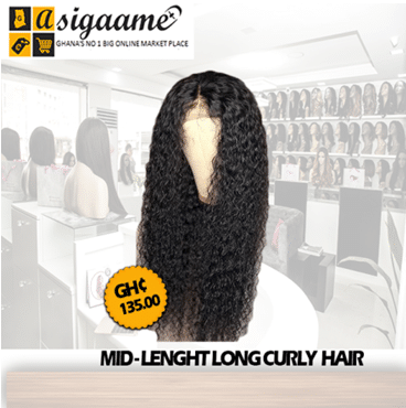 African fashion wig ladies mid-length long curly hair wig