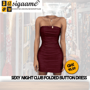 SEXY NIGHT CLUB FOLDED BUTTON DRESS