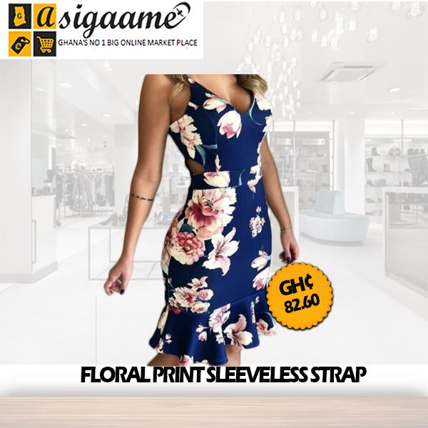 Floral Print Sleeveless Strap