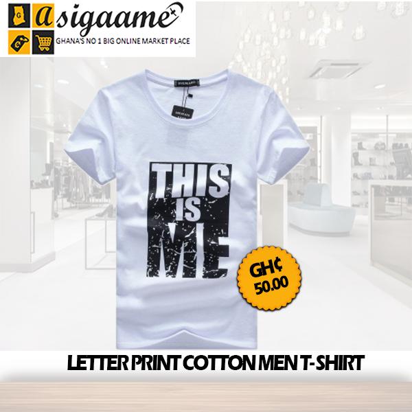 Letter Print Cotton Mens T Shirt