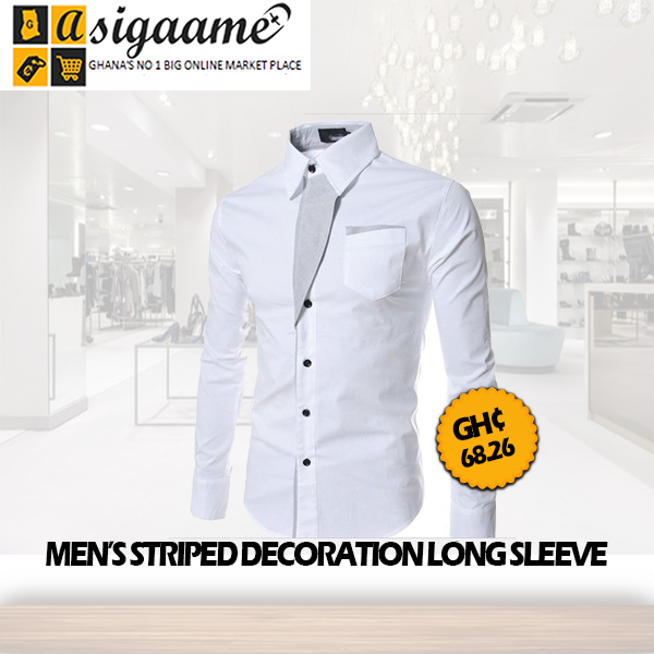 Mens striped decoration long sleeve