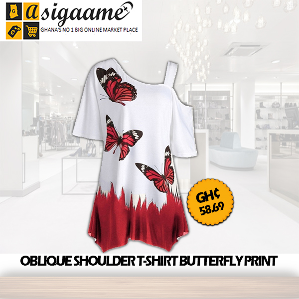 OBLIQUE SHOULDER T SHIRT BUTTERFLY PRINT