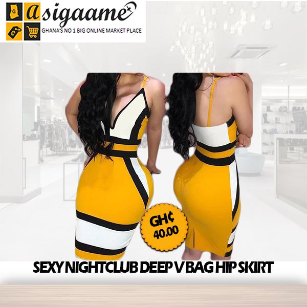 sexy nightclub deep V bag hip skirt
