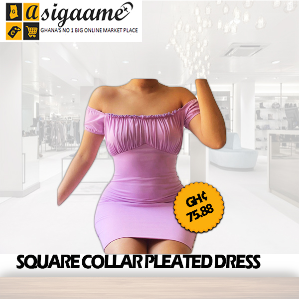 square collar pleated dress